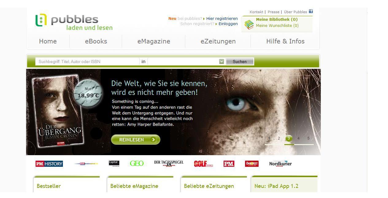 Bildschirmfoto, (c) Franziska Lerch; Inhalt: www.pubbles.de; 19.12.10; 16:68 Uhr