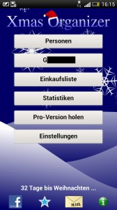 Xmas Organizer - Startseite