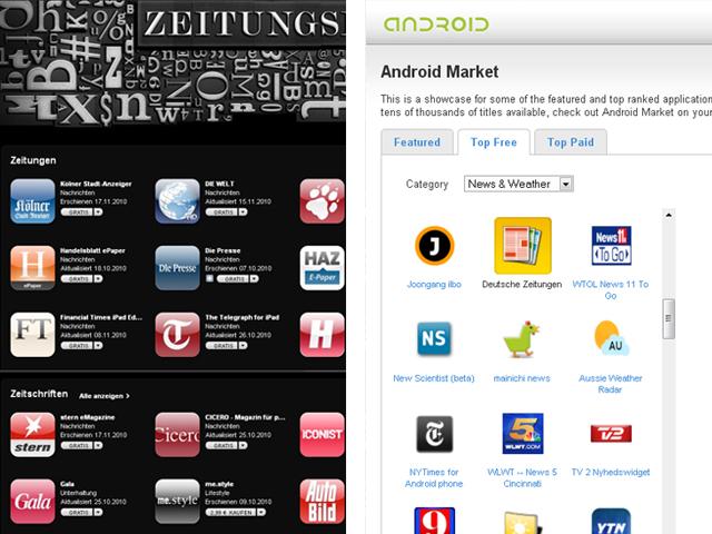 Einblick in den AppStore von Apple und googles Android Market