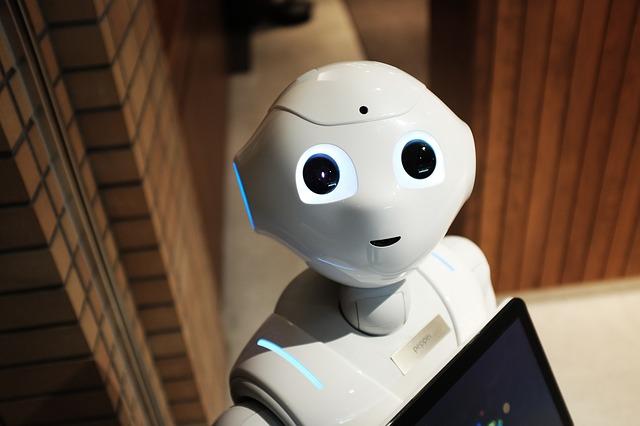 Gesicht des menschenähnlichen Roboters Pepper